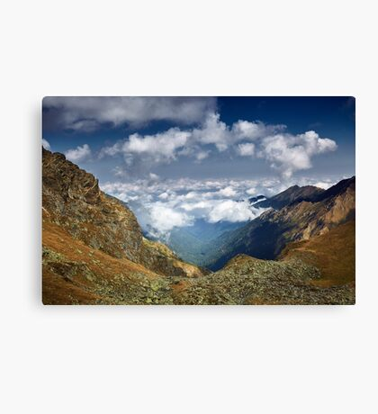 Mountains landscape with clouds Canvas Print