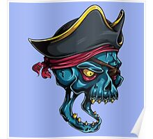 Pirate Skull Blue Poster