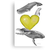 Loving marine mammals - version yellow Canvas Print