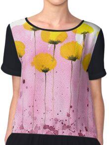Pink Lemonade - Yellow Watercolor Flowers Chiffon Top