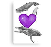 Loving marine mammals - version purple Canvas Print