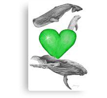 Loving marine mammals - version green Canvas Print