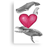 Loving marine mammals - version pink Canvas Print