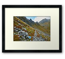 Hiking trail in the mountains Framed Print