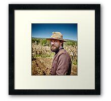 Young farmer closeup portrait outdoor Framed Print