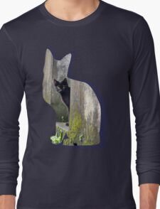 Shaped-Black Kitten Explorer Long Sleeve T-Shirt