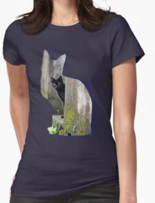 Shaped-Black Kitten Explorer Womens Fitted T-Shirt