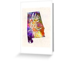 Alabama US State in watercolor text cut out Greeting Card