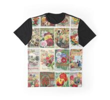 Vintage Flower Seed Packet Illustrations Graphic T-Shirt