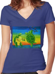 Fire Play Terrapin Turtles Women's Fitted V-Neck T-Shirt