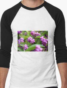 Closeup of beautyberry (Callicarpa dichotoma) fruit. Men's Baseball ¾ T-Shirt