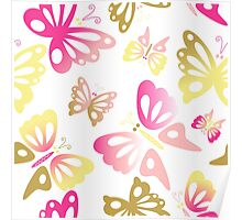 Abstract Pastel Pink and Gold Butterfly Print Pattern Poster