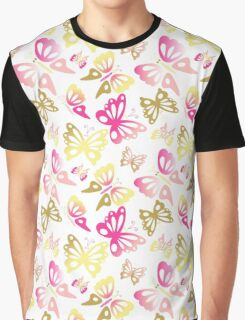 Abstract Pastel Pink and Gold Butterfly Print Pattern Graphic T-Shirt