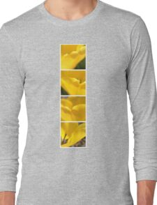 Macro Yellow Tulip Petals Collage Long Sleeve T-Shirt