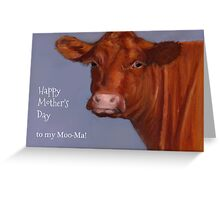 Funny Mother's Day, To My Moo-ma: Cow Portrait, Pastel Greeting Card