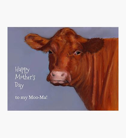 Funny Mother's Day, To My Moo-ma: Cow Portrait, Pastel Photographic Print