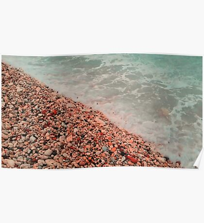 sea waves lapping on the beach of pebbles. Poster