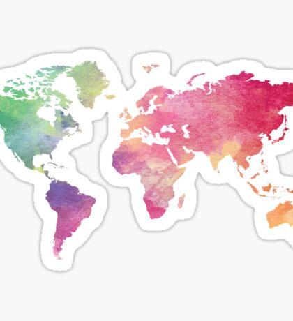 World Map - Rainbow Sticker