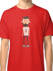 Hipster on longboard Classic T-Shirt