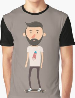 Hipster on longboard Graphic T-Shirt