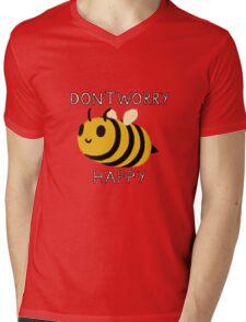 Don't worry, Bee happy Mens V-Neck T-Shirt