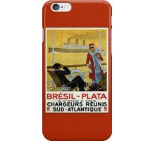 Vintage 1920s ocean liner cruises to Brazil Plata advert iPhone Case/Skin