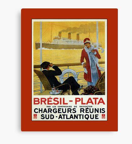 Vintage 1920s ocean liner cruises to Brazil Plata advert Canvas Print