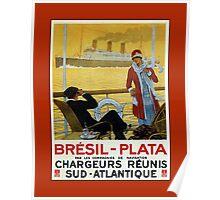 Vintage 1920s ocean liner cruises to Brazil Plata advert Poster