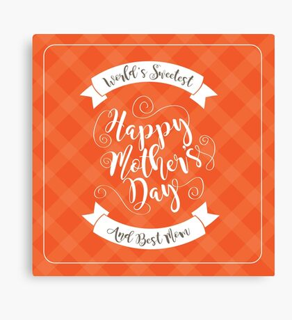 Happy Mothers Day swirly type design Canvas Print