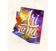 Arizona US State in watercolor text cut out Photographic Print