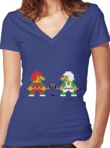 Super Puck Bros. Women's Fitted V-Neck T-Shirt