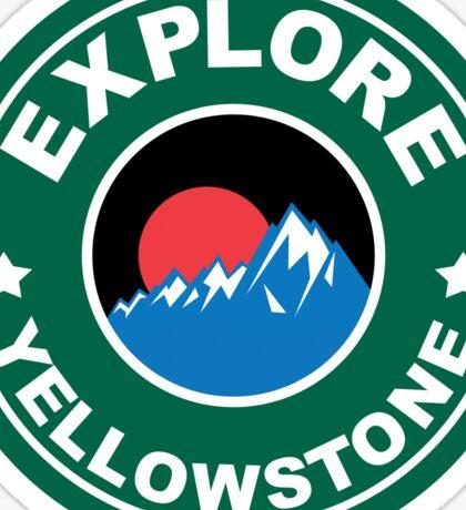 YELLOWSTONE NATIONAL PARK WYOMING MOUNTAINS EXPLORE ROUND GREEN ART Sticker