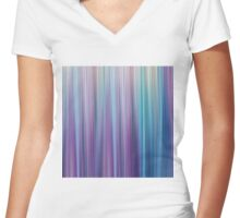 Abstract Purple and Teal Gradient Stripes Pattern Women's Fitted V-Neck T-Shirt