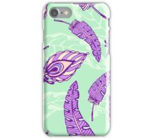 pattern with decorative violet feathers on mint background iPhone Case/Skin