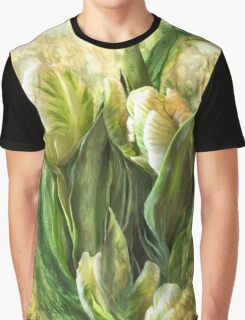 White Parrot Tulips Graphic T-Shirt
