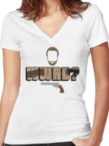 WWRD? Women's Fitted V-Neck T-Shirt