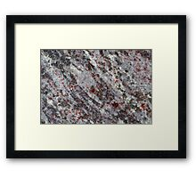 Surface of a gneiss rock with red garnets. Framed Print