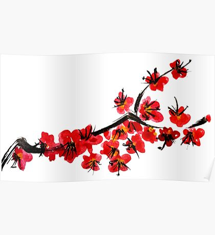 Pink flowers of cherry Poster