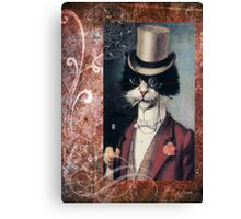Victorian Cat Top Hat Gentleman Canvas Print