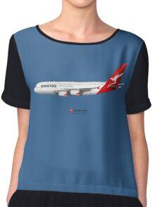 Illustration of Qantas Airbus A380 - Blue Version Chiffon Top