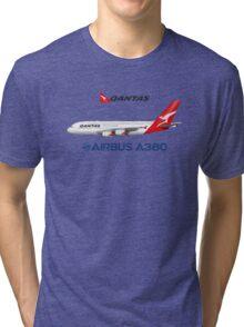 Illustration of Qantas Airbus A380 - Blue Version Tri-blend T-Shirt