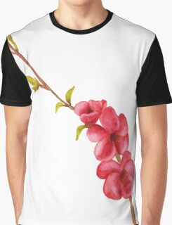 pink flowers and green leaves on a tree branch Graphic T-Shirt