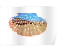 double exposure seashell with desert scenery Poster