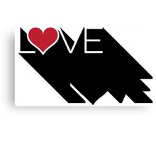 Black and White and Red Heart LOVE Canvas Print