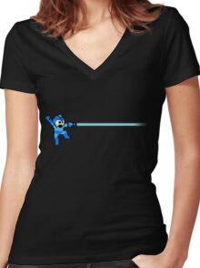 Megaman Women's Fitted V-Neck T-Shirt