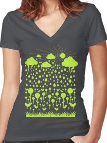 Summer Green Women's Fitted V-Neck T-Shirt
