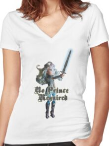 No Prince Required Women's Fitted V-Neck T-Shirt