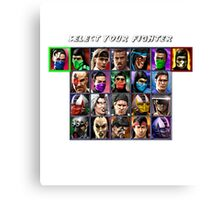 Ultimate Mortal Kombat 3 Character Select Canvas Print