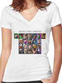 Ultimate Mortal Kombat 3 Character Select Women's Fitted V-Neck T-Shirt