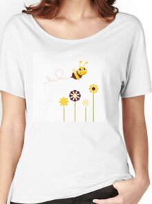 Adorable spring Bee flying around flowers Women's Relaxed Fit T-Shirt